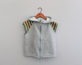 Vintage Rainbow Zip Up Hoodie Vest Sweatshirt