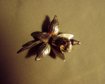 Vintage 1940s Taxco Mexico Sterling Silver Orchid Flower Pin 8508