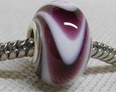 Glass Handmade Lampwork Large Hole Bead Silver Cored European Charm Bead White with Dark Purple Swirl