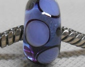 Handmade Lampwork Bead Large Hole European Charm Bead Transparent Blue with Black and Blue Dots