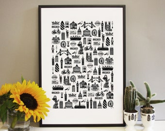 London Print - London kitchen art - London art - London illustration - Gift for Londoners