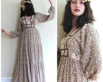 Vintage 1970s Prairie Style Maxi Dress / 70s Floral Print Brown Dress by Jody T / Small