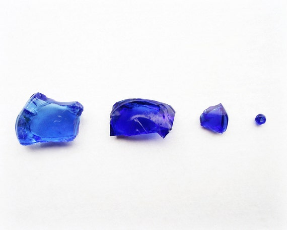 Vintage Glass Photography Broken Cobalt Blue Minimalist Home Decor 10x8 Print Fragments in Blue...