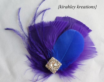 Royal Cobalt Blue Purple Feather Rhinestone Hair Clip Hairpiece Wedding Fascinator EVANGELINE Bride Bridal Bridesmaids Prom - Customizable