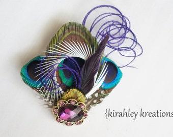 Purple Peacock Feather Hair Clip Plum Rhinestone Bride Green Teal Bridal Bridesmaid Wedding Prom Fascinator Hairpiece IRIS Customizable