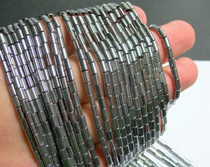 Hematite Silver - 5mm flat tube beads - 1 full strand - 80 beads - AA quality - Bright silver - PHG195