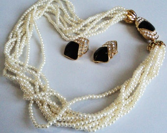 Faux Pearl Multi Row Necklace & Matching Earrings... Fancy Black Enamel Rhinestone Clasp