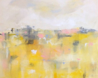 Yellow Cheerful Abstract Landscape Painting Original- Sunshine Landscape 24 x 24