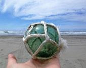 Japanese Glass Fishing Float - Softball Size, Original Net
