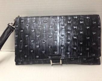 Black Vinyl Clutch - Ready To Ship - 100% Handmade