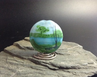 Lampwork Glass Focal Bead - handmade - Across the Pond