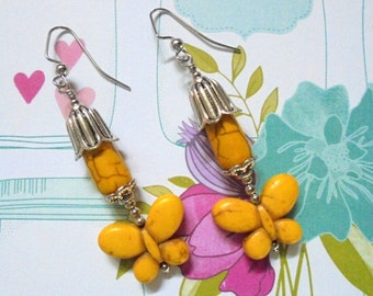 Yellow and Silver Butterfly Earrings (2674)