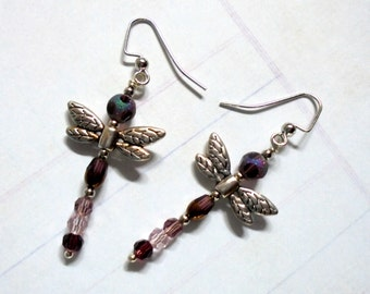 Amethyst and Silver Dragonfly Earrings (2699)