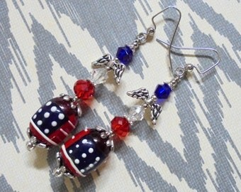 Red, White and Blue Patriotic Earrings (2715)