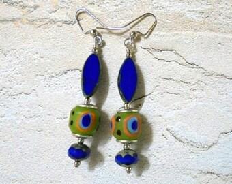 Royal Blue, Lime Green, Orange and Aqua Boho Earrings (2863)
