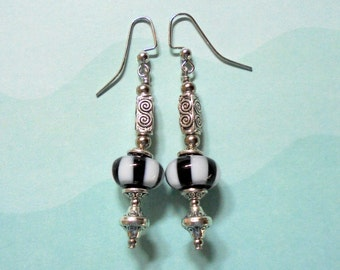 Black and White Striped Lampwork Earrings (3022)