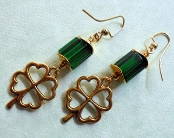 Green and Gold St Patrick's Day Shamrock Earrings (2506)