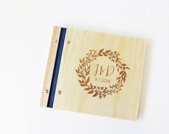 Wedding Guest Book. Wood Guest Book. Engagement Gift. Bridal Shower. Wedding Album. leafy wreath