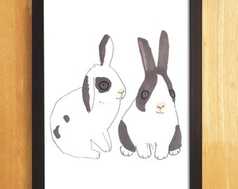 Rabbits A3 Print Bunnies Pet Black and White Pink