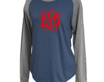 Women's Monogrammed Raglan Tee - Monogram Jersey Raglan Crew Shirt - Ladies Raglan Tee