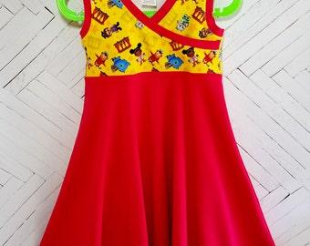 Daniel Tiger inspired girls dress size 4 4T cross front summer dress sun dress tank dress toddler dress neighborhood