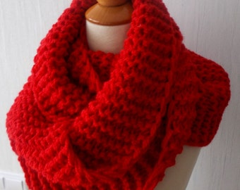 Cowl Chunky Shoulder Warmer Hand knitted  in Pink for Women