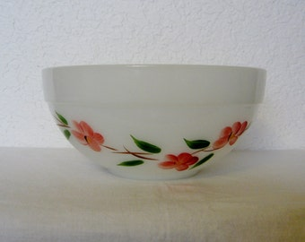 Fire King Milk Glass/Floral Bowl