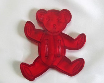 Vintage Teddy Bear Red Clear Plastic Cookie Cutter Pat. Pend.