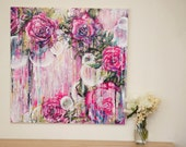 Orbs - 24x24 Inch Abstract Floral Acrylic Large Painting 2ftx2ft Shabby Chic Pink Bright Modern Contemporary  Original Art Drippy