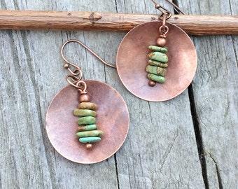 Turquoise earrings, boho chic, turquoise dangle earrings, copper earrings, drop earrings, dangle earrings, copper jewelry, turquoise dangle