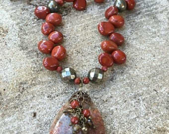 Chunky Red Jasper and Pyrite Dangle Tone Pendant Necklace