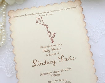 Winnie the Pooh Invitations Baby Shower Invite Pooh and Piglet Printed Set of 10