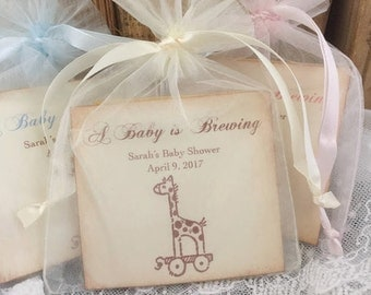 Giraffe Baby Shower Favors Tea Bag Favors Baby is Brewing Set of 10