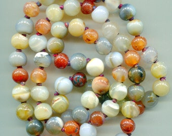 N310 Vintage Multicolor Agate Rope Necklace, 32""