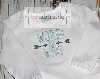 Worth the Wait Baby Gown or Bodysuit, Baby Girl or Boy, Layette Baby Gown, Great for your Rainbow Baby, Coming Home Outfit, Baby Shower Gift
