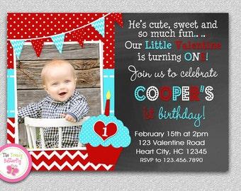 Valentines Birthday Invitation , Valentines Birthday Party Invitation Boys or Girls