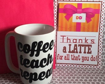 16 oz. personalized ceramic coffee mug cup latte monogram cocoa stocking stuffer teacher
