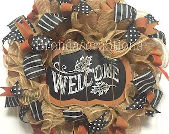 Fall Door Wreaths, Hanger With Welcome, Entry Way Decor, Gift Fot Her, Thanksgiving Decorations, Pumpkin Theme Ideas