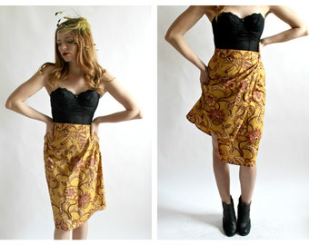 1960s Tiki Wrap Pencil Skirt- XS, 25, Mustard Yellow, Lotus Flower, Pinup Retro Polynesian, Overlapping