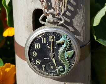 Vintage STEAMPUNK Nautical Patina Seahorse Necklace on a Rustic Pocket Watch Pendant on long two style brass chain with shell accents