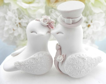 Love Birds Wedding Cake Topper, White, Dusty Pink, Tan and Beige, Bride and Groom Keepsake, Fully Customizable