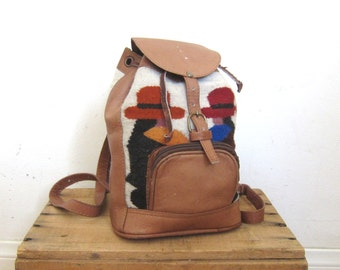 90s Mini Backpack Vintage Woven Wool and Leather Ethnic Small Rucksack
