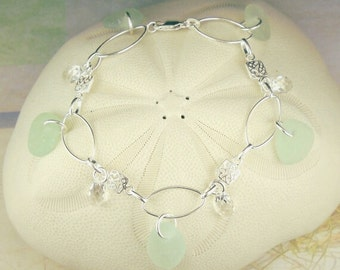 GENUINE Sea Glass Bracelet Sterling Silver With Aqua Sea Glass And Crystals