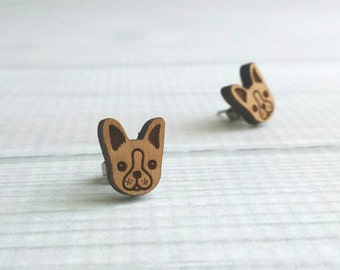 Boston Terrier Earrings - wood dog face studs with surgical stainless steel posts / backings - French Bulldog puppy fur baby dog lover gift