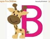SALE INSTANT DOWNLOAD Giraffe Baby Machine Embroidery Monogram Font Design Set