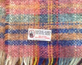 Vintage Highland Wool Travel Rug 40 x 56