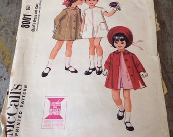 Vintage McCall's Sewing Pattern 8001 Girls' Dress and Coat Size 3