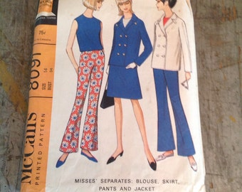 Vintage McCall's Sewing Pattern 8091 Misses' Size 14 Separates