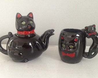 Vintage Black and Red Cat Teapot, Cat Collector / Teapot Collector / Vintage Teapot / Antique Teapot, Vintage Black Cat Teapot