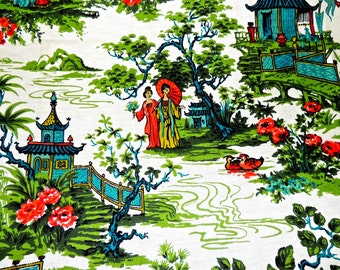 vintage barkcloth fabric - 1940s mid century asian-print fabric 1 yard
